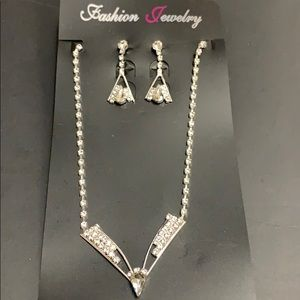 Rhinestone jewelry set necklace and earrings